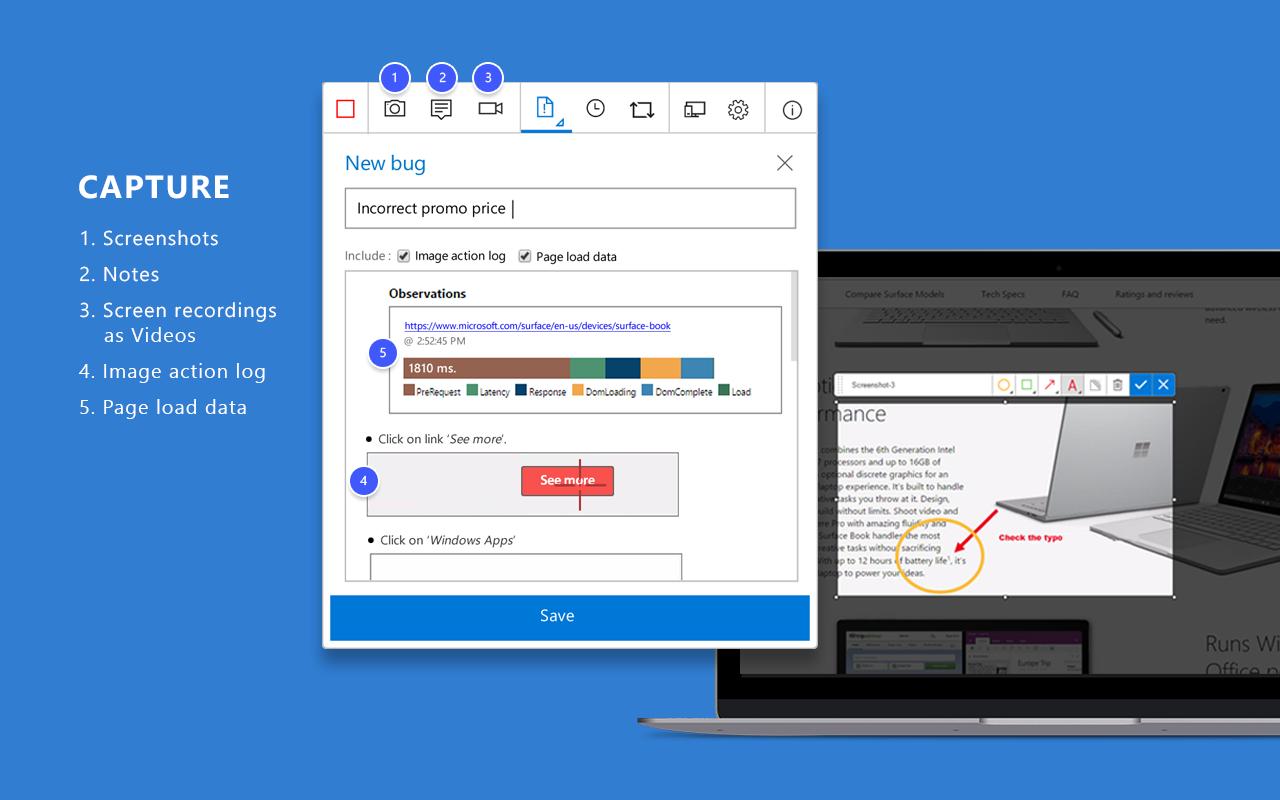 Create notes screenshots annotation user action log videos